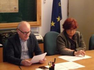 L'ex sindaco di Gavazzana Claudio Sasso e il segretario comunale Domenica La Pepa