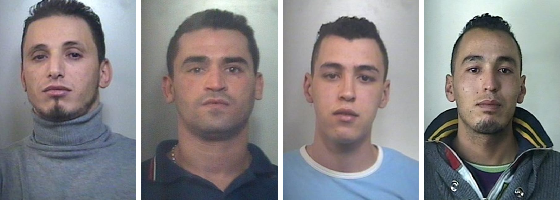 Gli arrestati per spaccio, da sx: Hakim Rachek, Zakaria El Haiba, Mostafa e Zakaria Kamal El Idrissi