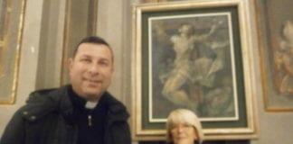 Ovada, chiesa parrocchiale dell'Assunta, Don Giorgio Santi e Paola Bersi durante la precedente inaugurazione